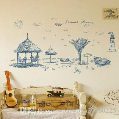 20190621 adesivos de parede removível para a decoração da parede da praia do verão com sofá decoração da parede de fundo na sala de estar do quarto