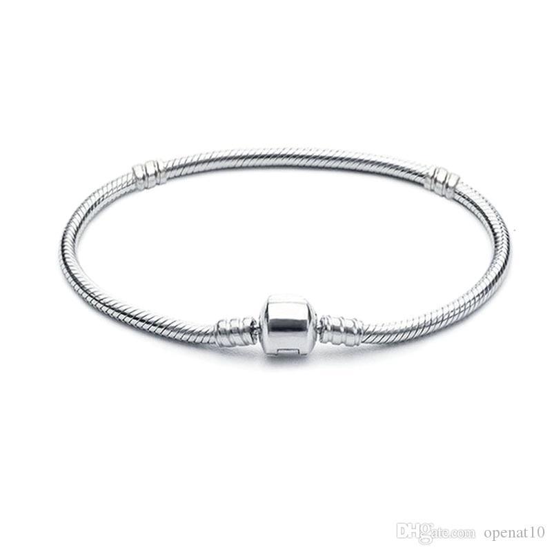 neues Kupfer Versilberung Armbänder mit LOGO Frauen-Schlange-Ketten-Charme-Korn für pandora grundlegenden Armband-Armband-Kind-Geschenk-B001