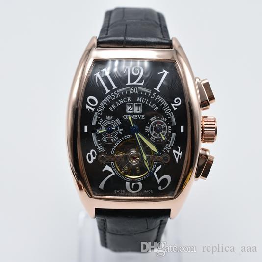 In vendita Geneva cuoio di marca di lusso del tourbillon meccanico automatico del Mens orologi dropshipping data giorno scheletro orologio degli uomini