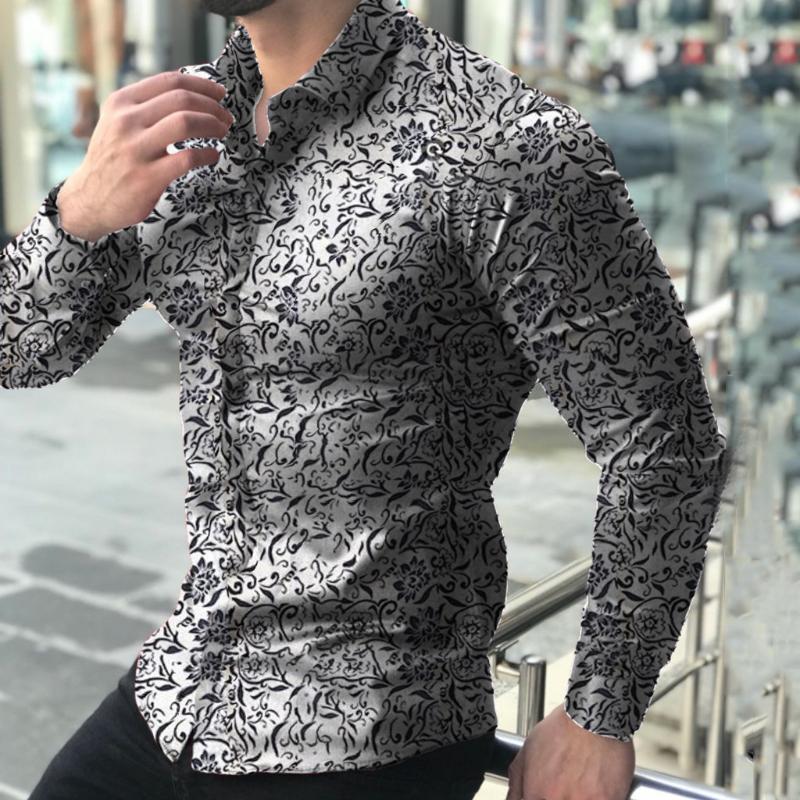 Men Shirt gedruckt Langarm-Turn-Down-Kragen lose Shirts Camisas masculina Shirt 2,18