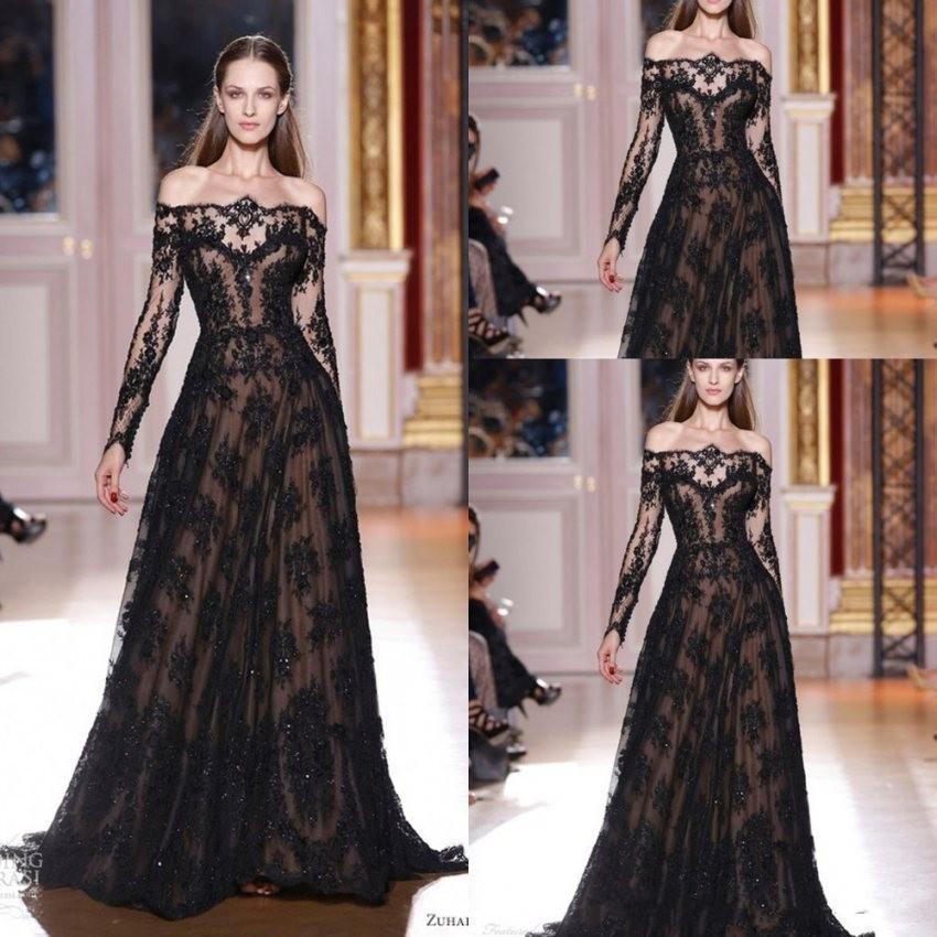 2020 nuovi spalla da sera A-Line Sheer Black Lace Applique maniche lunghe abito da sera Vestido de festa WLF5