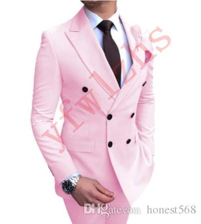 Ucuz Ve Güzel çift Breasted Groomsmen Tepe Yaka Damat smokin Erkekler Suits Düğün / Gelinlik / Akşam Sağdıç Blazer (Ceket + Pantolon + Kravat) A357