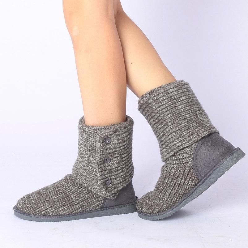 2019 New Arrival Women Winter Flats Fashion Warm Woolen Yarn Mid Half Boots Knitting Wool Yarn Snow Boots Size 35 39 SXQ0905 Cheap Shoes Online Shoes