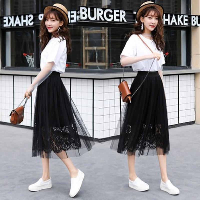 Saias 2021 Saia Mulher High Cintura Lace Preto Joelho-Comprimento Sólido Casual Mulheres Verão Vintage Streetwear Sexy
