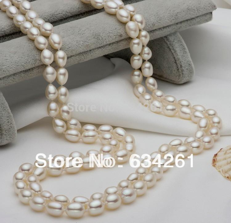 ASHIQI White Natural Freshwater Pearl Long Necklace Sweater chain with 7-8mm Real pearl Jewelry For Women Hot Sale