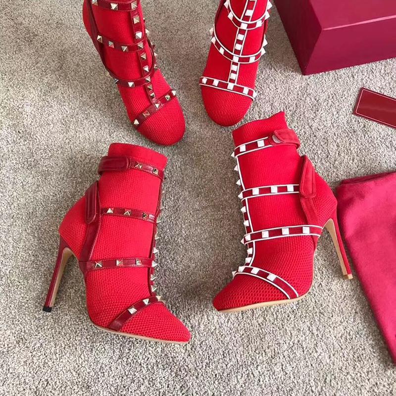 Роскошные дизайнерские сапоги-гвоздики Красные туфли из эластичной ткани Кожаные ботильоны Мартин для женщин Высокие каблуки 105 мм Размер: 34-41