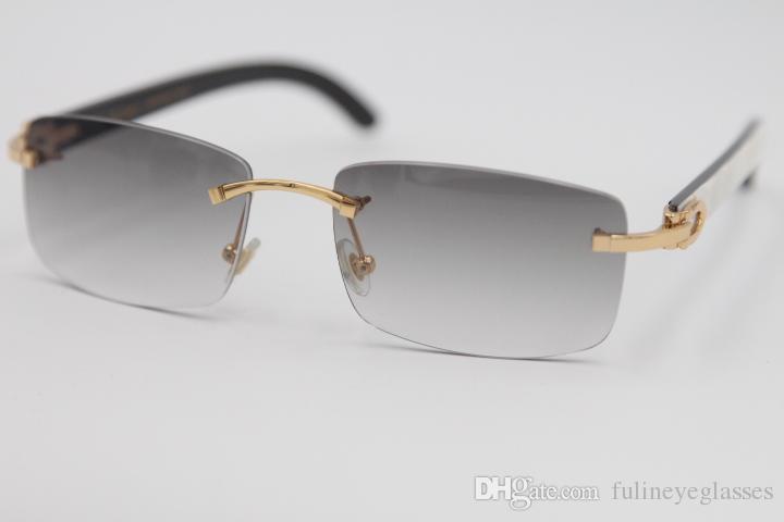 Kostenlose 2019 Streifen und 8200757 Vertikale schwarze Natürliche Sonnenbrille Echte weiße Gläser Neue Stil Horn Randlos 8200758 Büffel Versand u Ddew