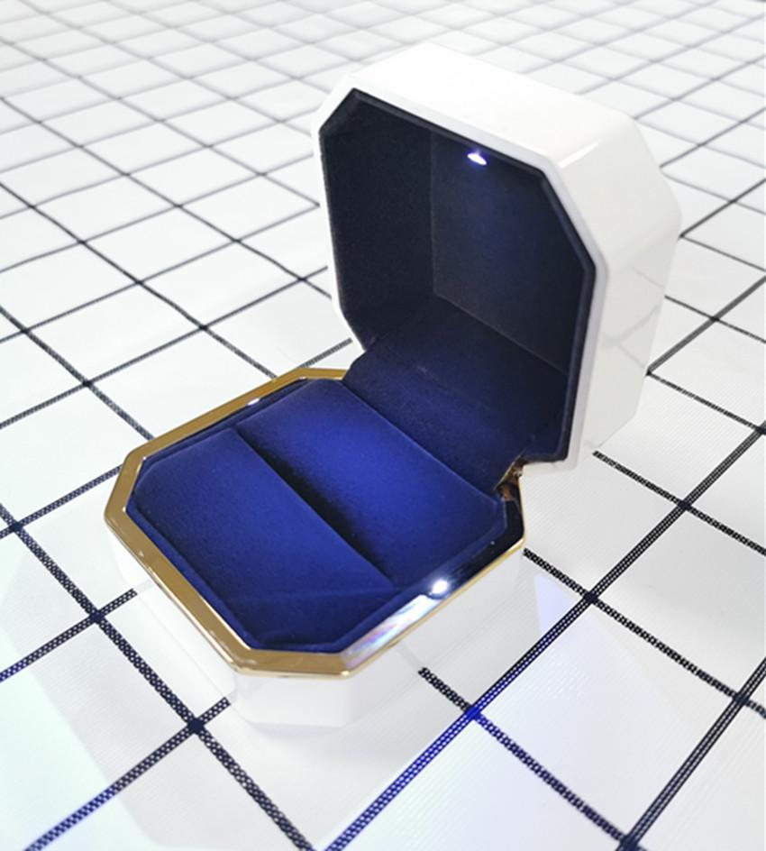 """مخصص حار بيع LED الإضاءة البلاستيك مجوهرات مربع """"حلقة القرط علبة هدية الزفاف خاتم الخطوبة مجوهرات مربع التعبئة والتغليف"""
