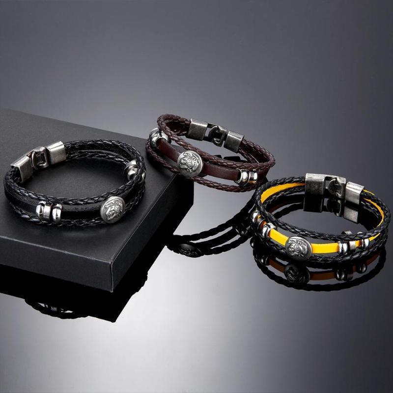 Fashion vintage hand-woven leather bracelet multilayer leather alloy monster head fashion bracelet and men's gift