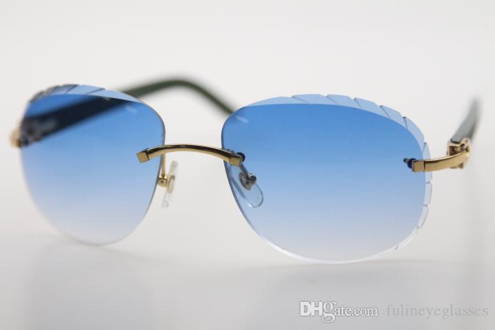 2020 도매 무테 조각 녹색 판자 선글라스 8200764 디자인 클래식 모델 안경 고품질 태양 안경 빈티지 광학 남여
