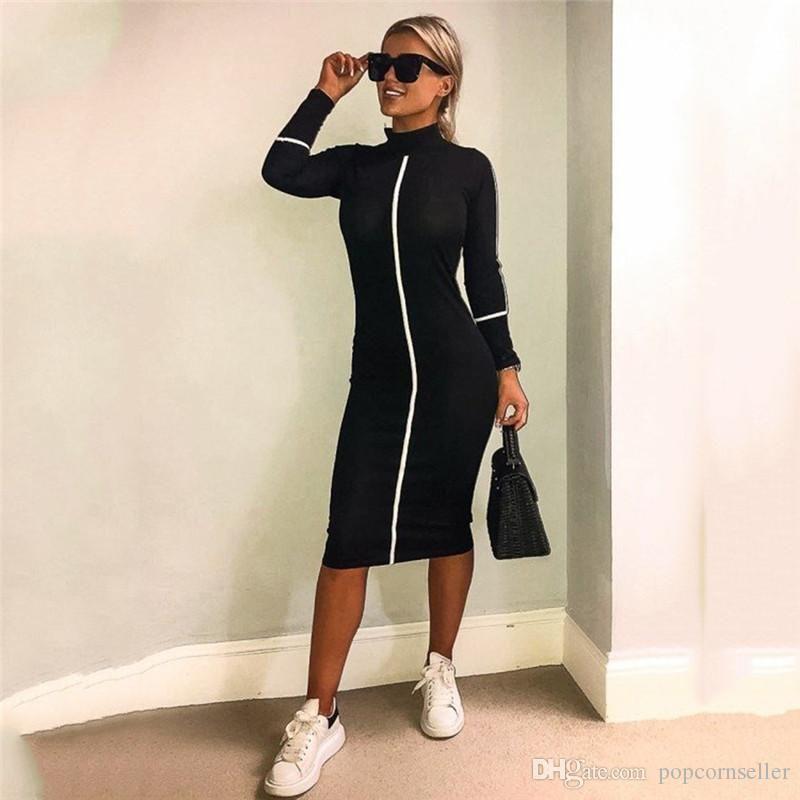 New Mulheres elegantes Designer Vestidos Moda Fique Collar manga comprida Meia-perna Vestidos Casual New 20ss Mulheres roupas de grife
