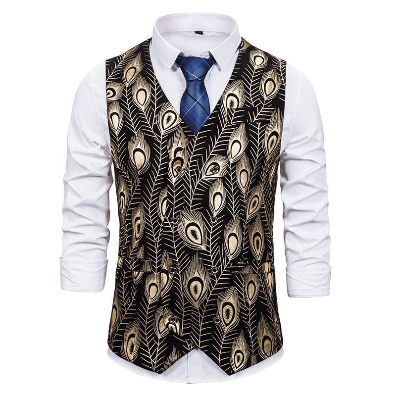 Ouro Steampunk Vest Men Hipster Feather Imprimir mangas Suit Vest Colete Homens Prom Party Disco Tuxedo Vestido Masculino Chaleco