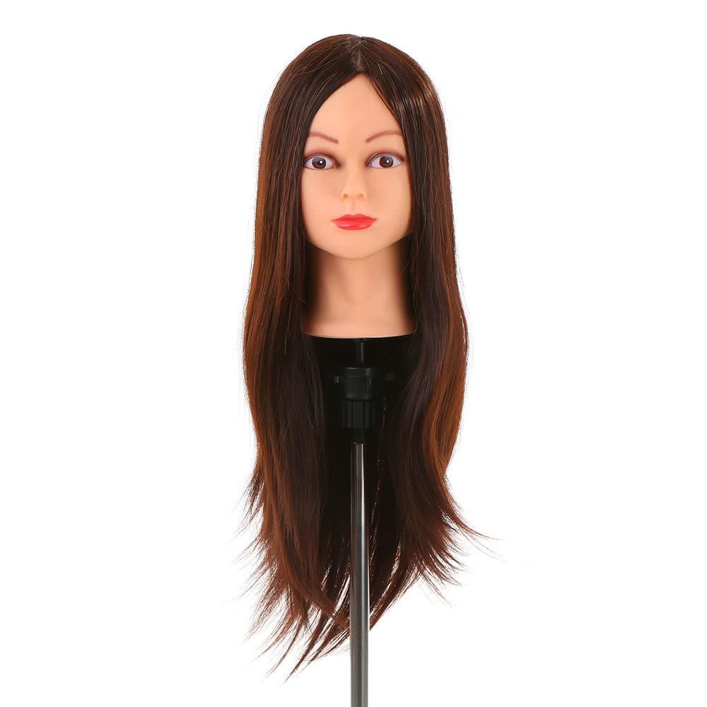 """24"""" 30% réel Cheveux Mannequin Tête coiffure Formation Tête Salon Tête + Pince Porte Pratique Pratique coiffure outil W2876"""