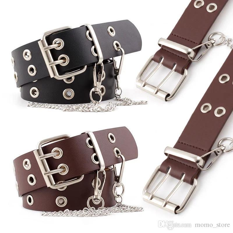 Womens Punk Belt Hollow Grommet PU Leather Strap Chain Jeans Accessory