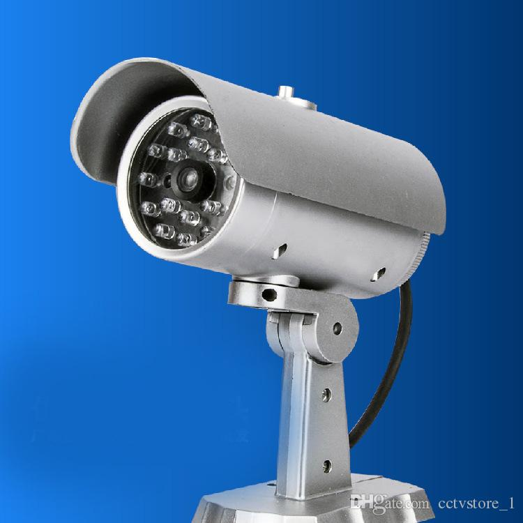 Dummy fake CCTV Security Camera Flashing LED Indoor Outdoor surveillance camera Sliver