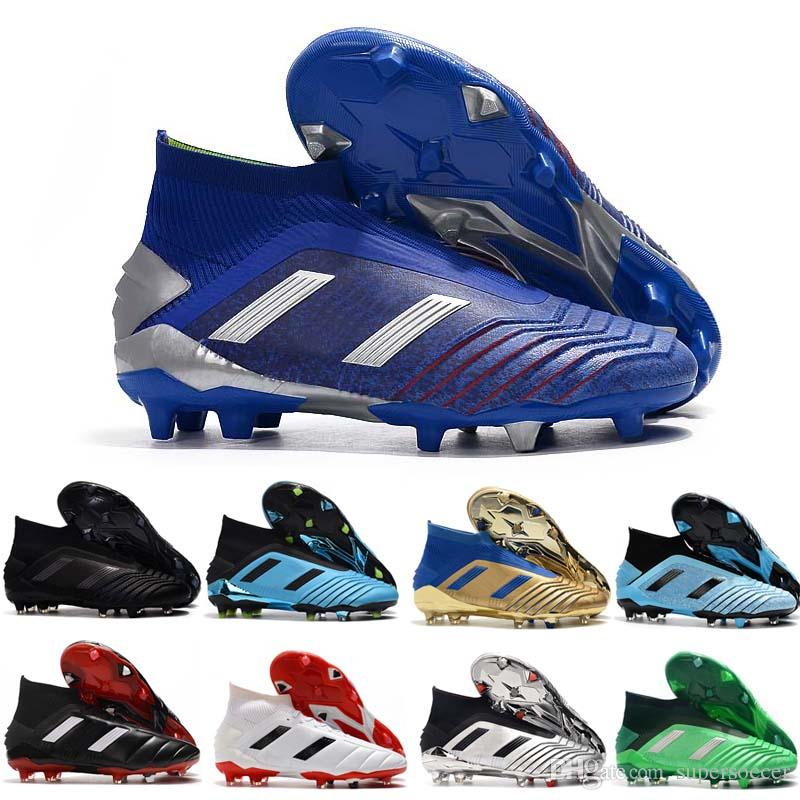 New Cheap Mens Predator Mania 19,1 19+ FG Football Botas Alta Qualidade Preto Vermelho Branco Futebol Grampos Shoes transporte rápido Tamanho 39-45
