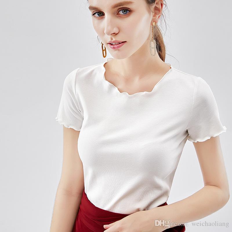 alta calidad de lujo Llano mujeres de la camiseta de algodón de cuello primicia señoras elásticos de citas camisetas Casual Mujer Tops manga corta camiseta de las mujeres