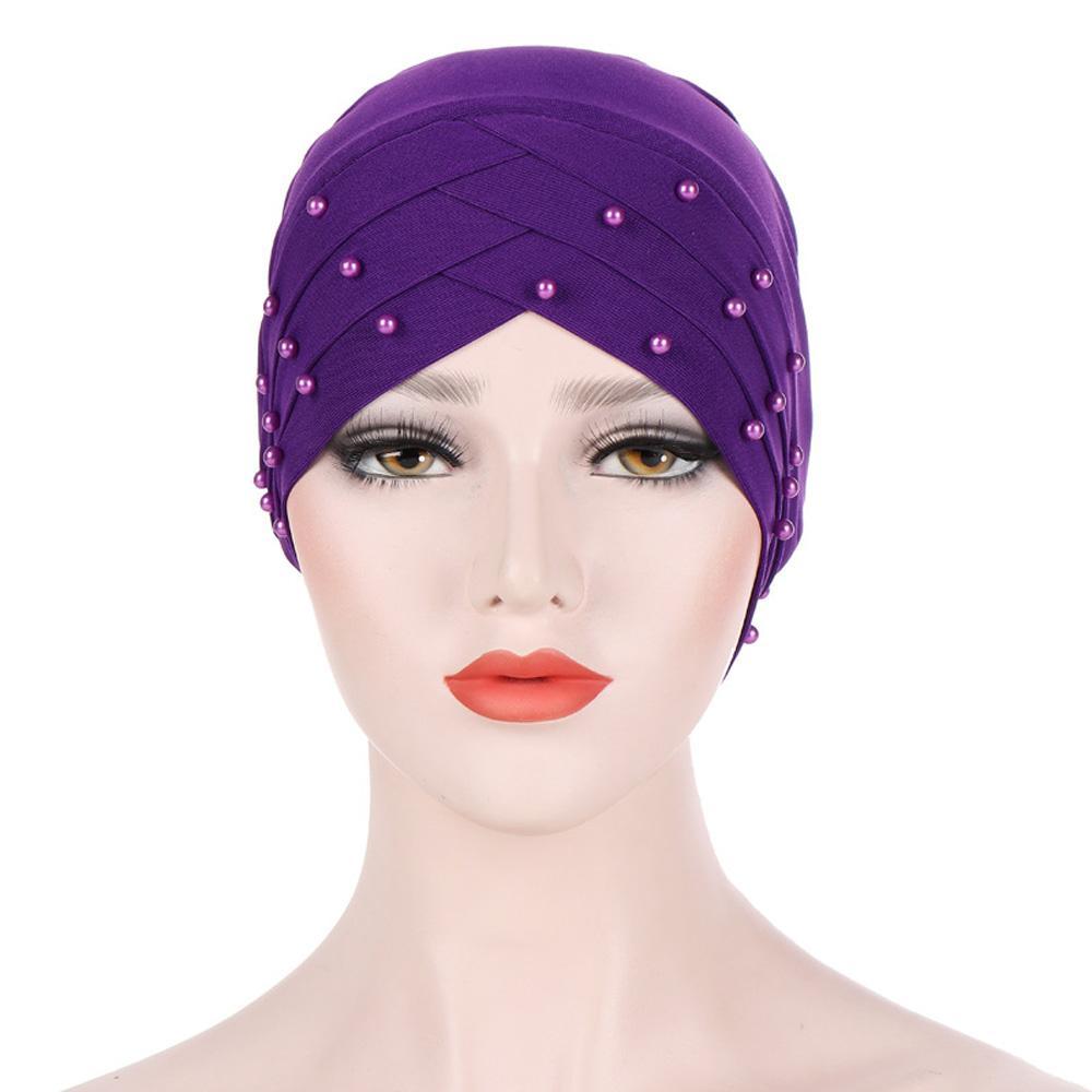 Fashion-Women Stylish Beaded Long Tail Caps Turban Hats Elastic Baggy Head Wrap CHATQD0049