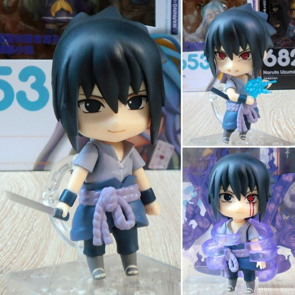 2019 Nova Anime Figura Nendoroid 707 Naruto Shippuden Uchiha Sasuke bonito de Ação PVC Figura menina Modelo Resina presentes brinquedo do figurine