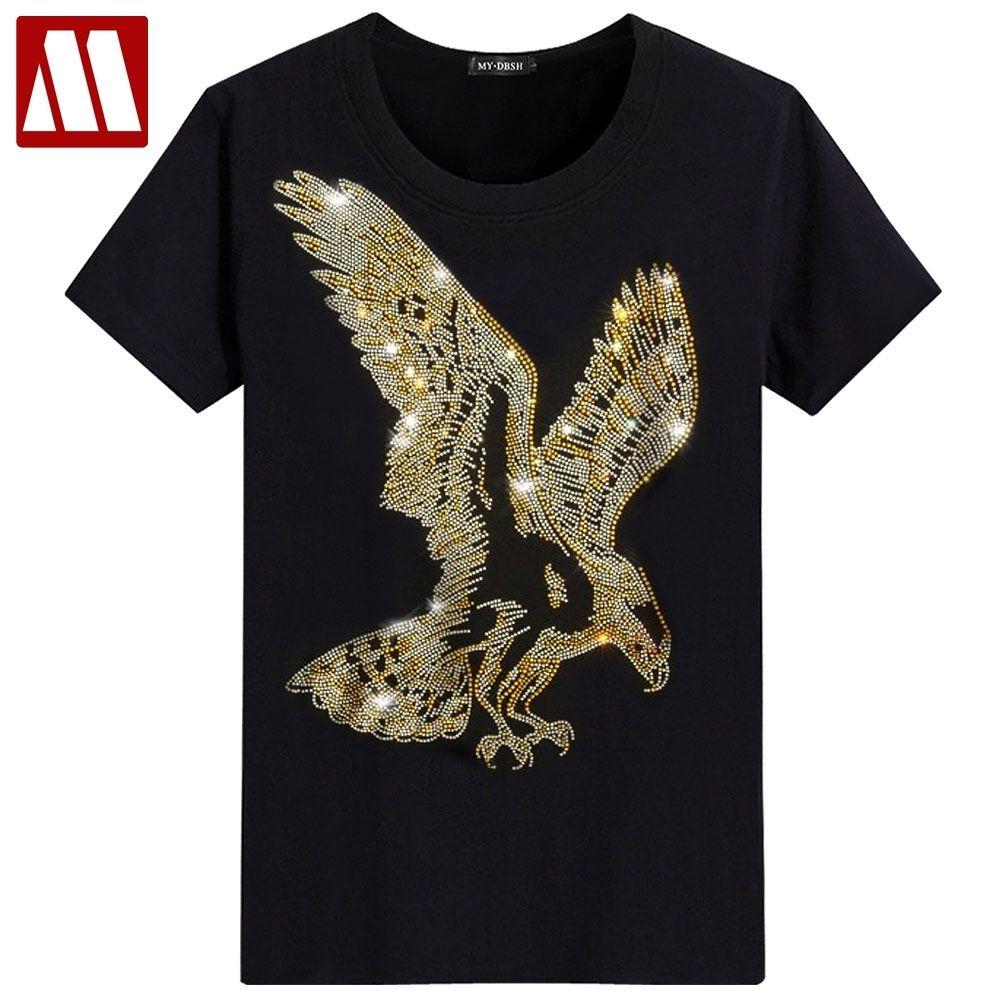 Inglaterra Estilo Fantasía camiseta hombre impresión del diamante de manga corta camiseta de los hombres de la moda de verano Rhinestone águila Diseño T Shirts inferior Y200104