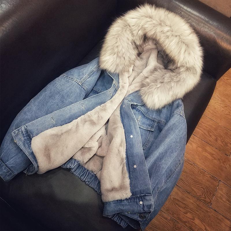 2019 nuovi dei jeans del rivestimento di inverno delle donne del cappotto Bomber Femminile giacca calda cotone parka con cappuccio della tuta sportiva della donna cappotti con cappuccio del rivestimento del cappotto Y190926