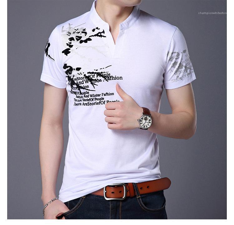 Collier Stand solide Couleur Tops Lettre Slim Imprimes Homme T-shirts Mode Hommes Designer T-shirt à manches courtes d'été