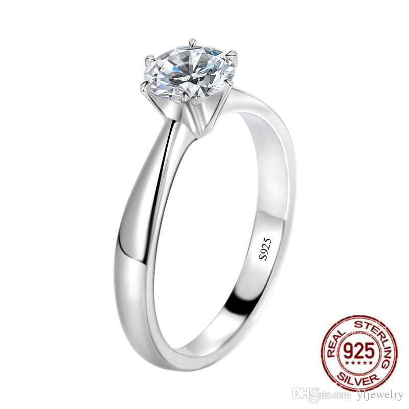100% 925 Silver Jewelry 6.5mm CZ Diamant Wedding Engagement Cocktaill Rings For Women Men Fashion Fine Jewelry XR348