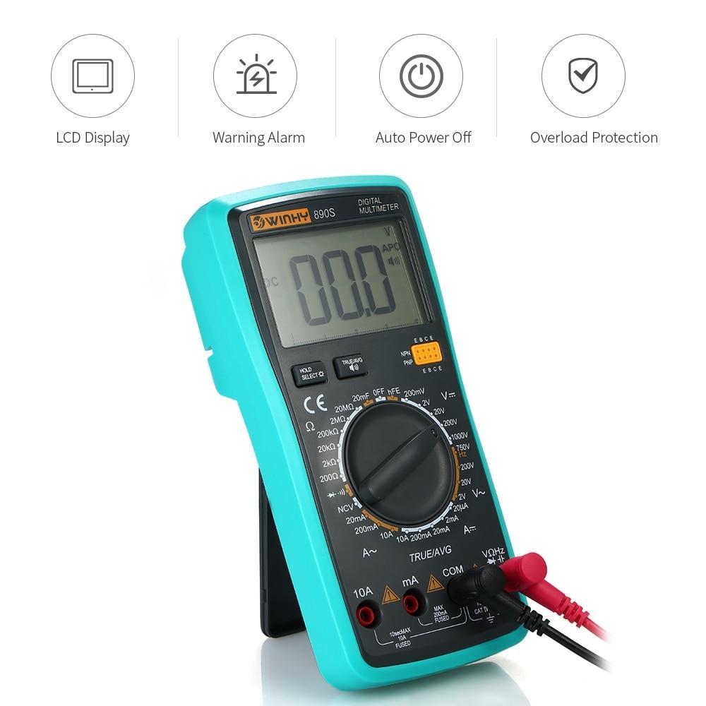 LCD Voice NCV True RMS Multímetro digital Voltaje DC / AC Medidor de corriente Capacitancia Resistencia Diodo Tester instrumento eléctrico