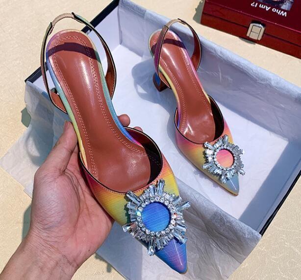 mit Kasten Entwerfer-Frauen-Steigung-Farben-Absatzschuhen Sun Schnalle Sandalen spitze Zehen Shallow Mund Schuhe Dame Luxus Sexy Kleid-Schuhe