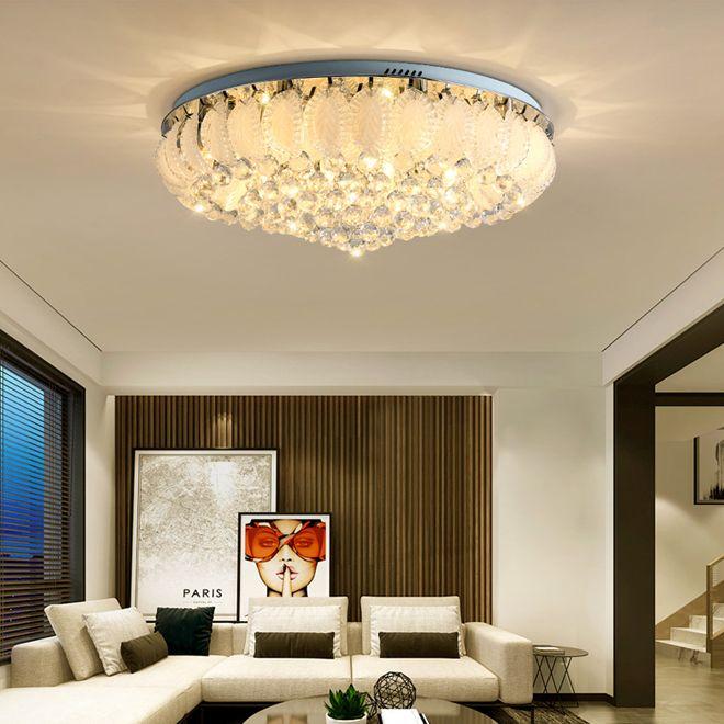 Современные кристалл потолочные люстры свет утопленный монтаж хрустальные люстры освещение круглые светодиодные потолочные светильники для спальни фойе гостиной