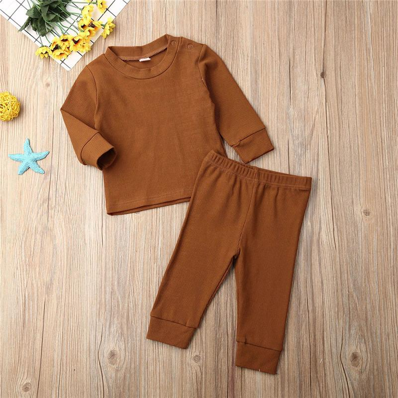 0-24 Months Newborn Infant Clothes 2019 Autumn Baby Boys Warm Knitted Tops Long Pants Set Pink Gray Black Tracksuits For Girls