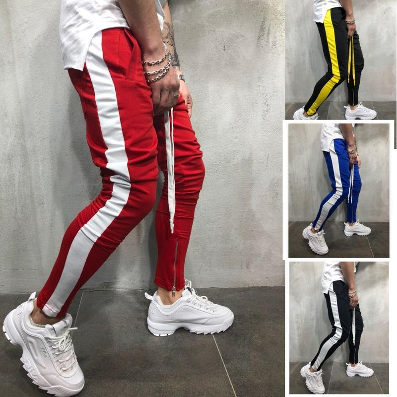 Plus Size Pants Men Casual Zipper Sports Trousers Mens Streetwear Joggers Ankle-length Bottoms Youth Gyms Fitness Skinny Soft