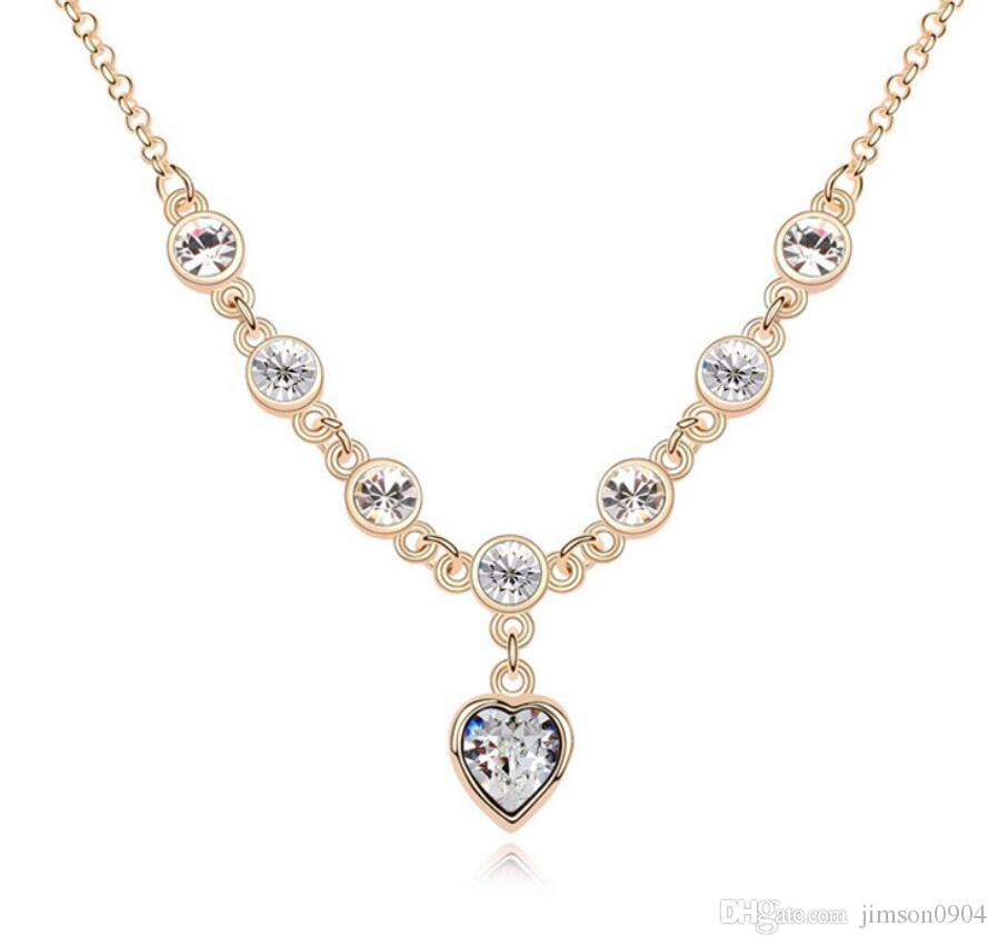 mode vente chaude d'abord à l'extérieur Cristal SWAROVSKI Collier pour femme Autriche Pendentif cristal premier amour mode Ruili Collier femme 1-862