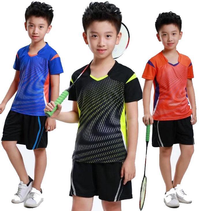 الأولاد الرياضة تي شيرت ، ملابس الريشة الطفل جيرسي ، قميص تنس الطاولة قميص البوليستر التنس السراويل ، أطفال التدريب تي شير XS-3XL