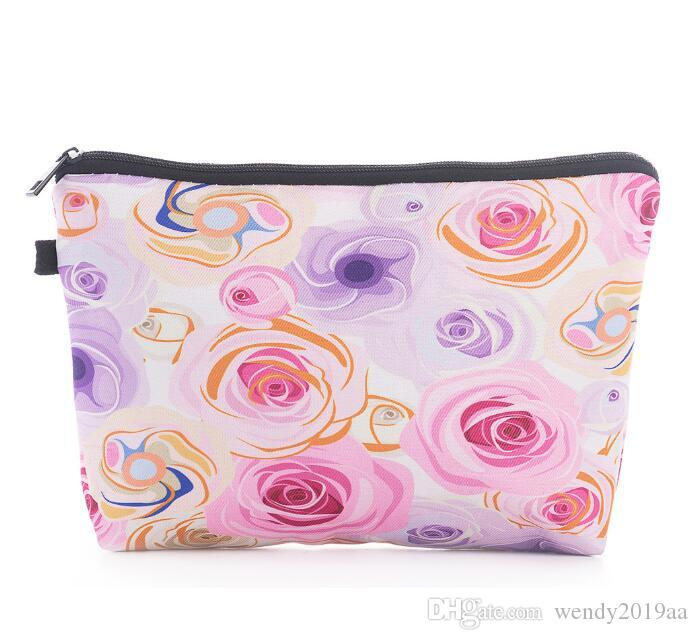 Cosmetic Bag Women Polyester Floral Printing Large Capacity Solid Protable Clutch Bag