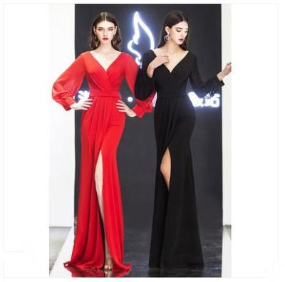 Spot-Trend Volltonfarbe Kleid weibliches Bankett Abendkleid 2020 neues dünnes Temperament Host Kleid einfach und großzügig lange