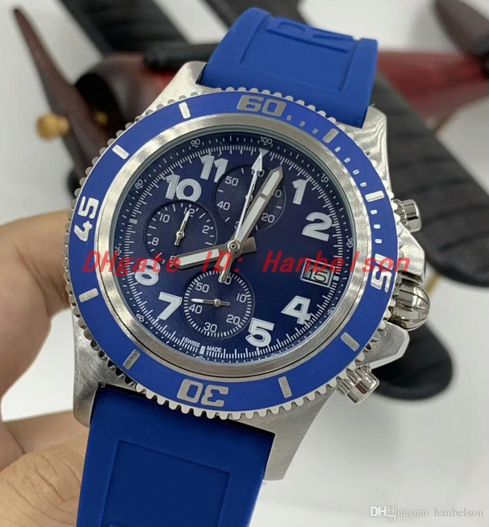 1884 erkek saatler montre de luxe vk kuvars hareketi paslanmaz çelik mavi kadran kauçuk kayış relojes lujo para hombre kronograf