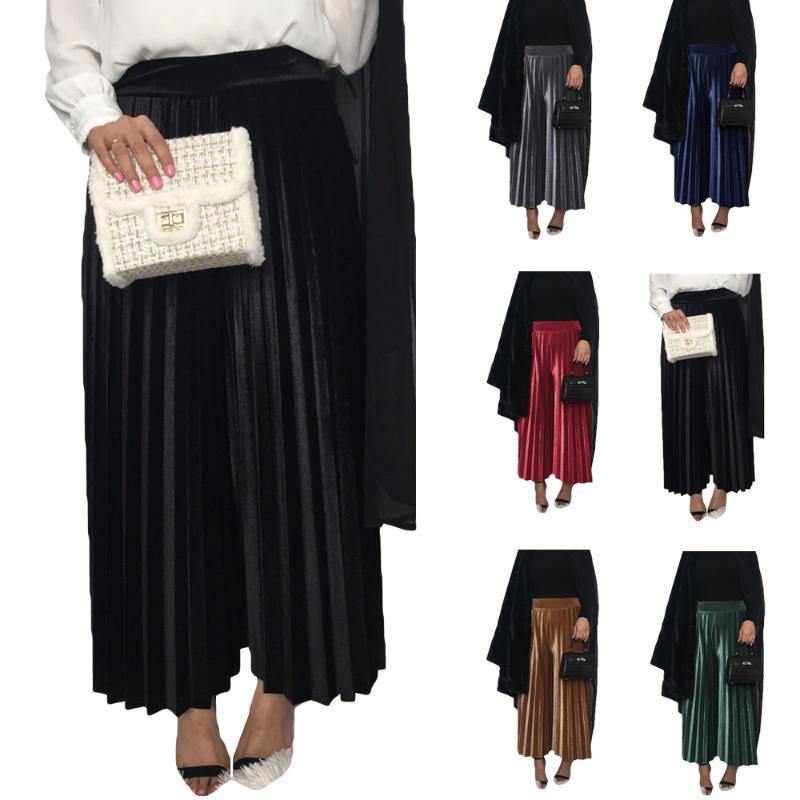 Этническая одежда мусульманские женщины плиссированные брюки бархат высокие высокие тисовые эластичные широкие брюки ноги Дубай исламские дна свободные прямые зима