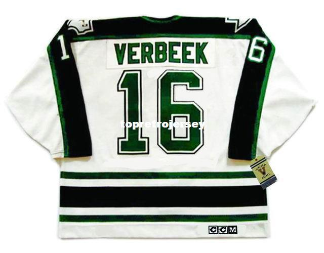 Wholesale Mens PAT VERBEEK Dallas Stars 1990's CCM Vintage Cheap Retro Hockey Jersey