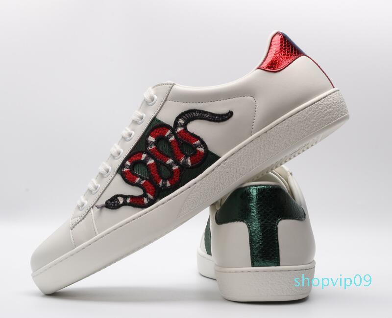 com caixa de 2019 listras Moda vermelho bordado verde Sneakers ACE preto couro genuíno das mulheres dos homens Casual desenhista calça o tamanho 35-46 c29