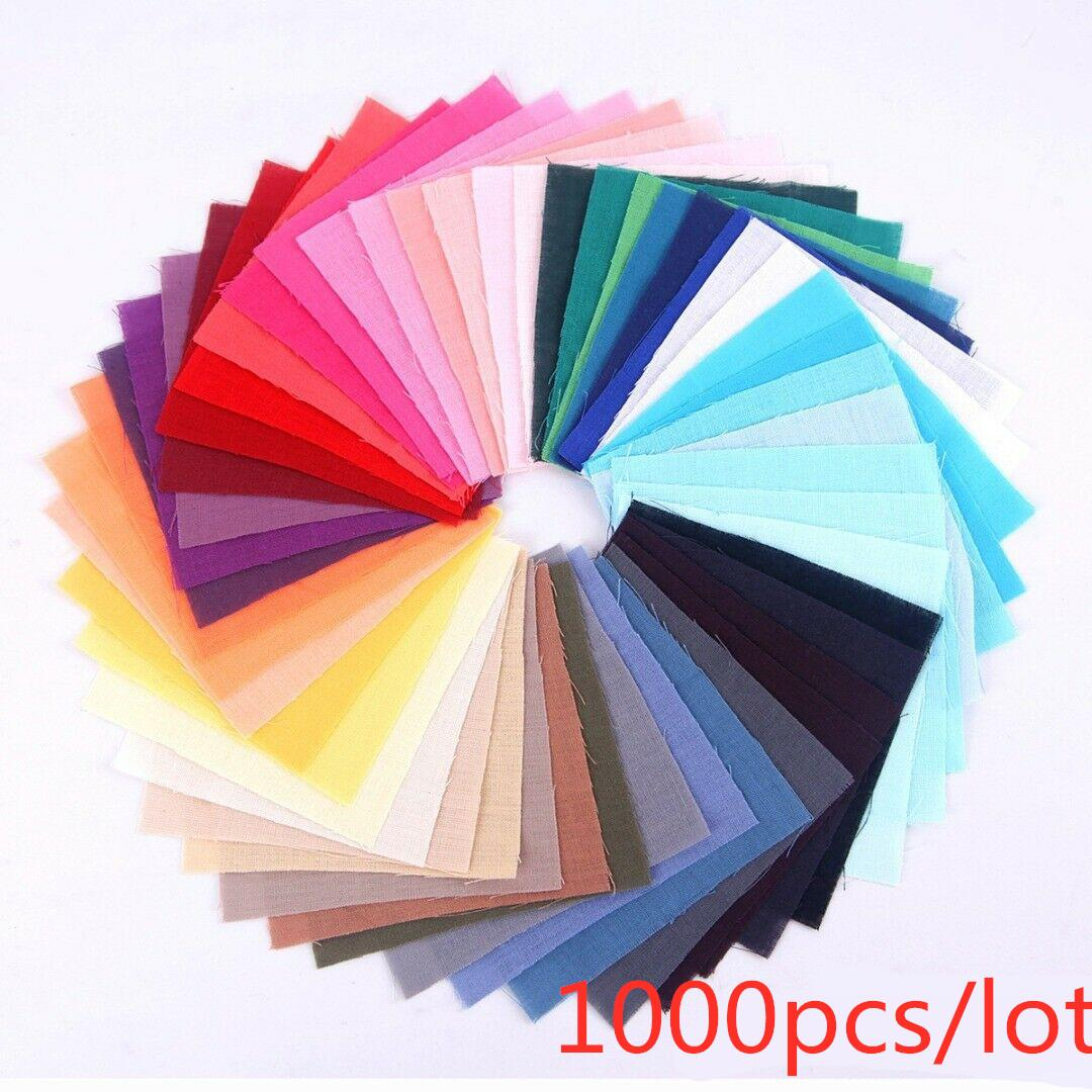 1000Pcs DIY Cotton Fabric Cloth Quilting Patchwork Cloth Plain Sheeting Sewing Home Textile Bedding Dooll 10*10cm