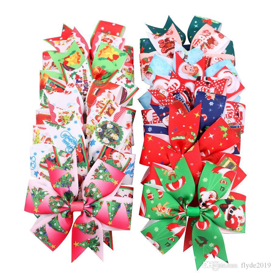 2019 Cadeau de Noël de bébé Bow Barrettes ruban gros-grain Bows Haipins neige bébé Moulinet de cheveux de Noël cheveux AccessoriesOrnament