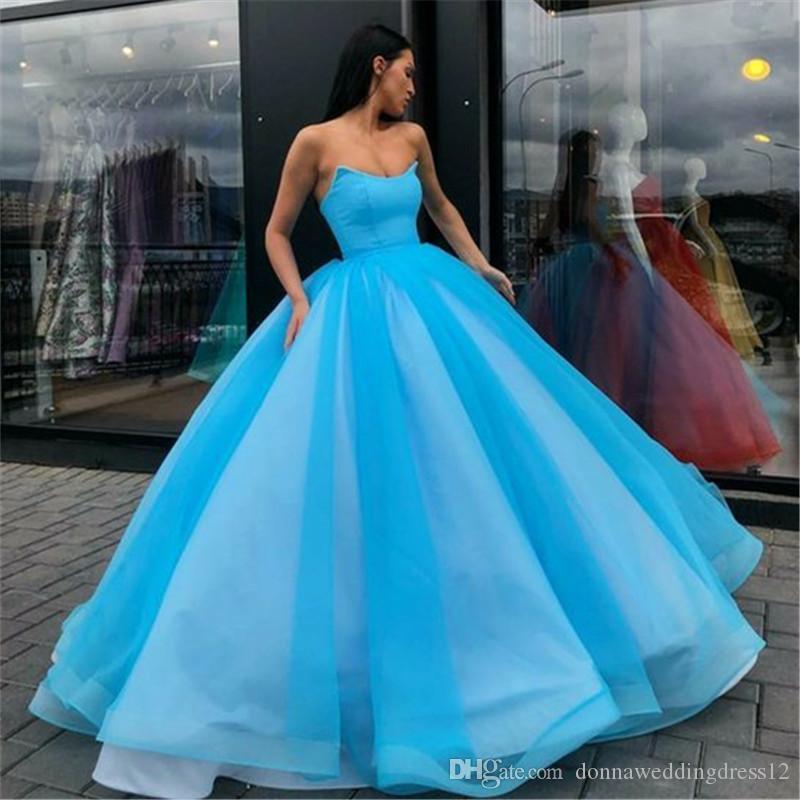 Couleur bonbons Tulle robe de bal Corail longue robe de bal bleu royal Robe de Festa de l'épaule pas cher formelle robe de soirée 2020