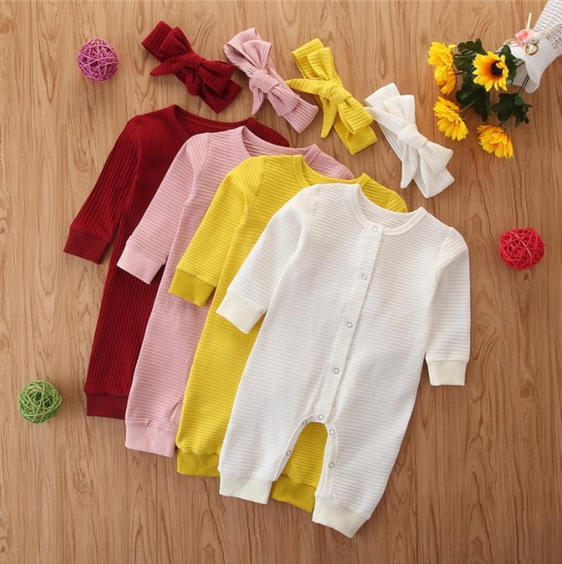 INS de la niña de ropa infantil niñas sólido Romper la venda 2pcs botón de ajuste individual recién nacidos mono de manga larga para niños pequeños Trajes de 4 colores DW4744