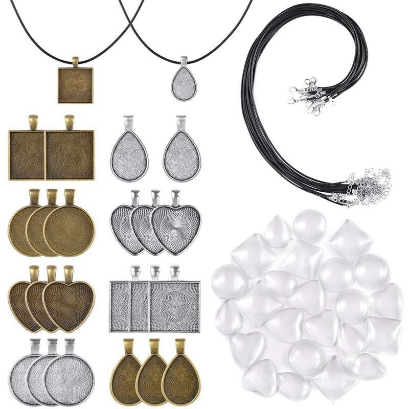 60pcs / Ensemble pendentif Bas Plateaux y compris les styles Pendentif brillant Cabochon en verre Dôme Carreaux Noir Piercings Collier cordon pour stylo photo