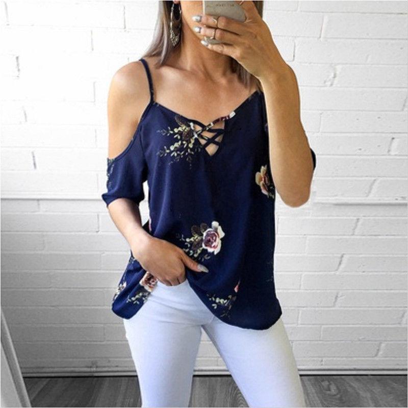 Neue Sommer-Frauen Riemchen Kalte Schulter Oberseiten-Bluse Damen Kurzarmhemd Blume beiläufige Frauen Tops Drucken