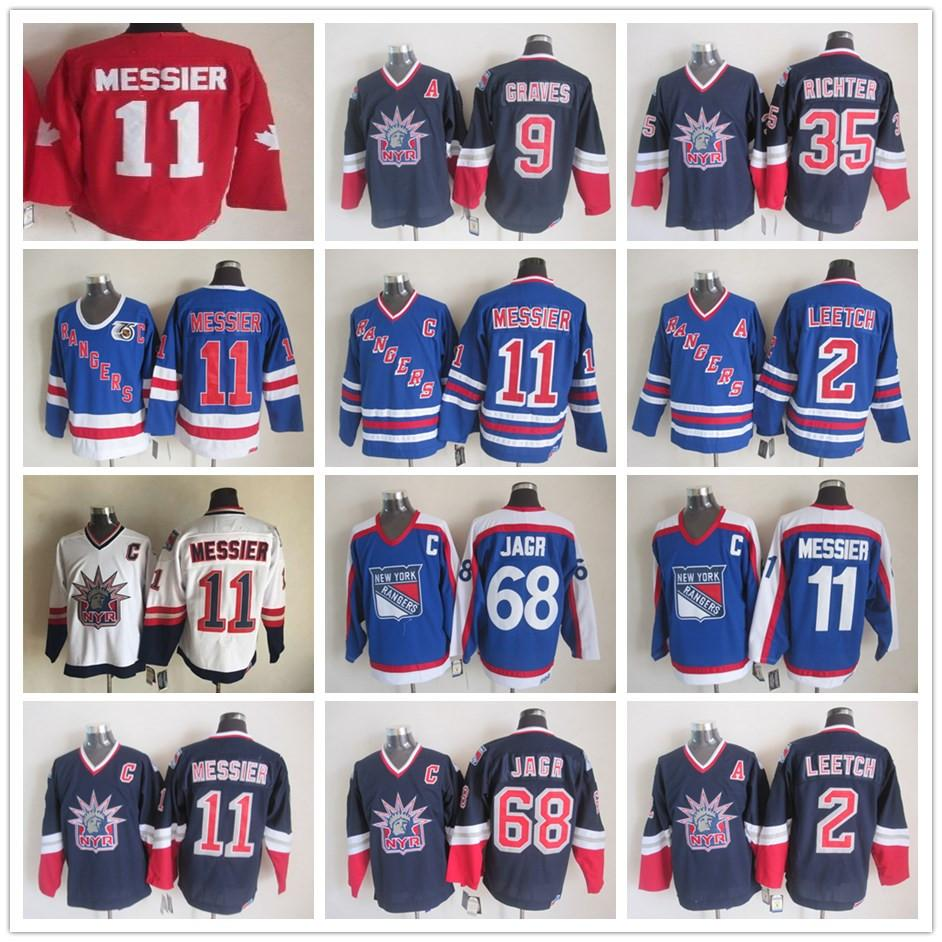 Vintage New York Rangers 11 Mark Messier 2 Brian Leetch 68 Jaromir Jagr 35 Mike Richter Beyaz Mavi Buz Hokeyi Formalar