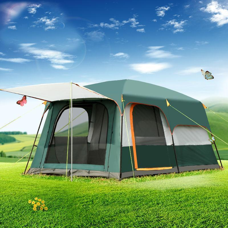 Outdoor 5-8persons double layer outdoor 2living rooms and 1hall family camping tent in top quality large space tent