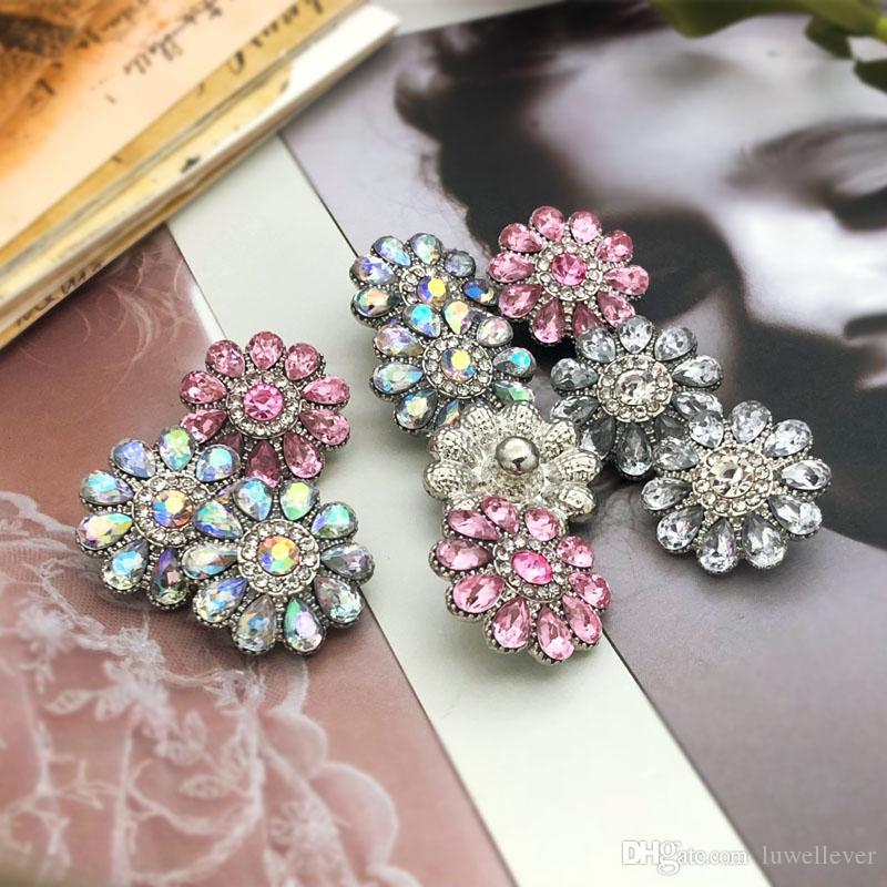 Composant Classique w461 Cristal 3D 18mm En Métal Bouton pression Pour Bracelet Collier Interchangeable Bijoux Femmes Accessoire Conclusions