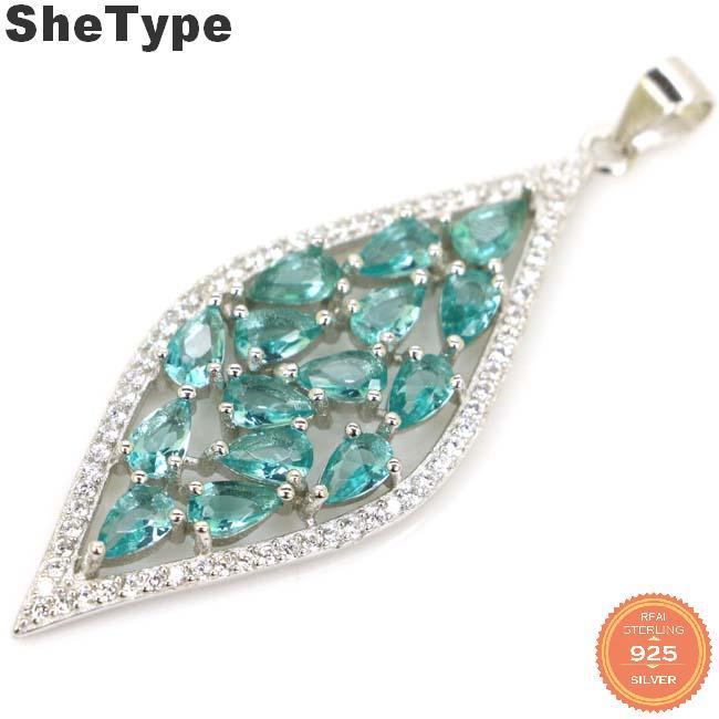 50x17mm красивый длинный 4,2 г созданный насыщенный синий Аквамарин Золотой цитрин CZ подарок для сестры 925 твердый серебряный кулон